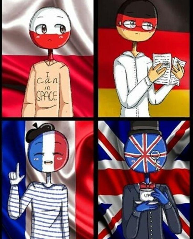 U.K x France x Germany x Poland countryhumans