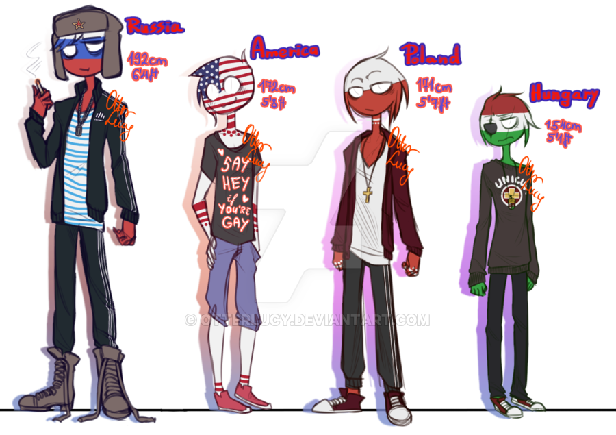 Russia, America, Poland and Hungary COUNTRYHUMANS
