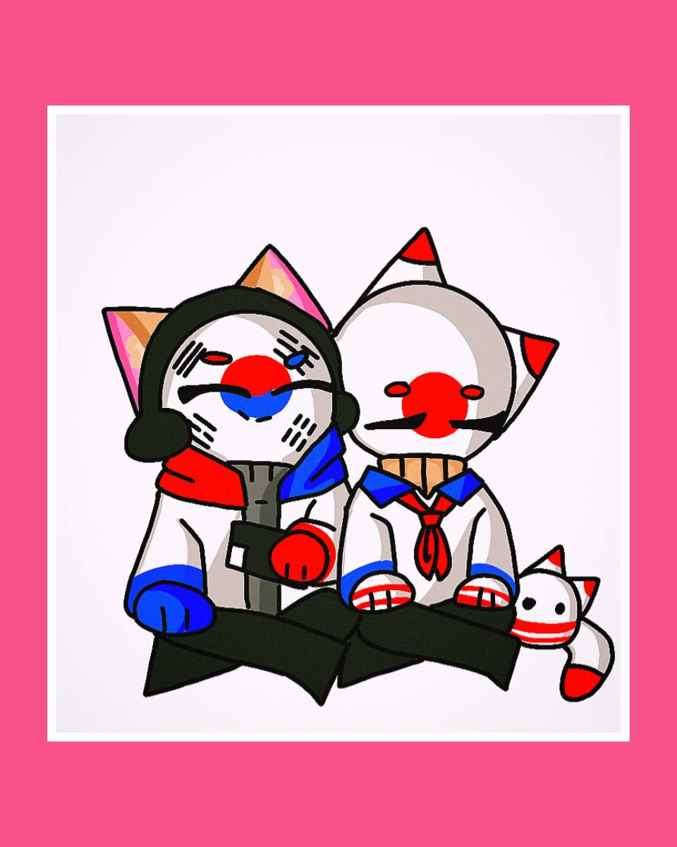 japan x corea countryhumans